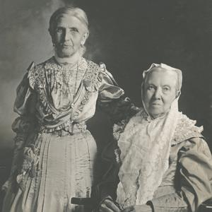 1908. Smith (right) was the Relief Society general president from 1901 to 1910. She was the last Relief Society general president who was also a member of the Nauvoo Relief Society. Wells (left) succeeded Smith, serving as Relief Society general president from 1910 to 1921.