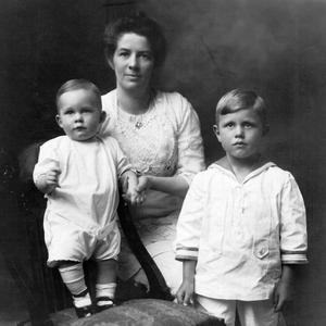 Shown with sons Philip and Richard, circa 1916. Some eighteen years before this photo was taken, Knight was one of the first single female church members to serve as a missionary.
