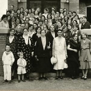 Shown at Social Service Training in Anaconda, Montana, circa 1920. Lyman, bespectacled in the center of the front row, became a trained social worker after formative visits to Hull House in Chicago and was a leader in implementing social service work within the Relief Society. Lyman served on the Relief Society general board for thirty-six years, including her time as president.