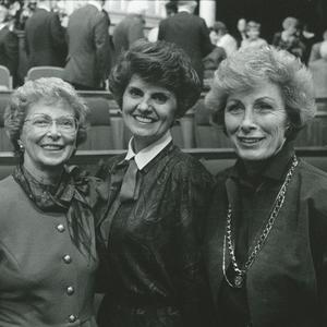 1989. Kapp served as Young Women general president from 1984 to 1992. This presidency oversaw the creation of the Young Women theme and Young Women values, and they updated the Personal Progress program. Jack was Relief Society general president from 1990 to 1997. Pictured here, left to right, are Malan, Kapp, and Jack.