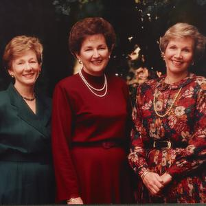 "1994. The goal of Beckham's presidency, which served from 1992 to 1997, was to help ""every young woman to become a righteous, problem-solving woman of faith."" Parkin later served as the Relief Society general president from 2002 to 2007. Pictured here, left to right, are Pearce, Beckham, and Parkin."