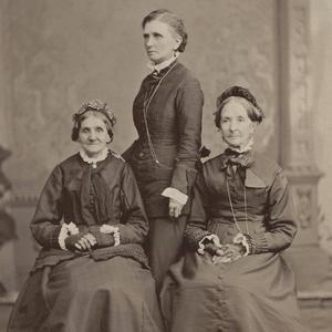 Circa 1876. Whitney (left) and Snow (right) were members of the Nauvoo Relief Society and served together when the general board of the Relief Society was organized in 1880. Emmeline B. Wells (center) edited the <i>Woman's Exponent</i> and worked as the general secretary and then general president of the Relief Society in later years. These three women traveled often to speak to different congregations.