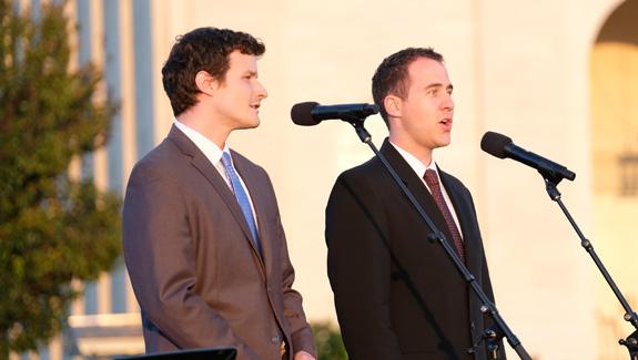 Young men singing