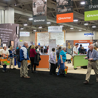 Attendees enjoying the expo hall