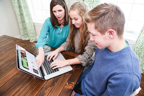 Family at a computer
