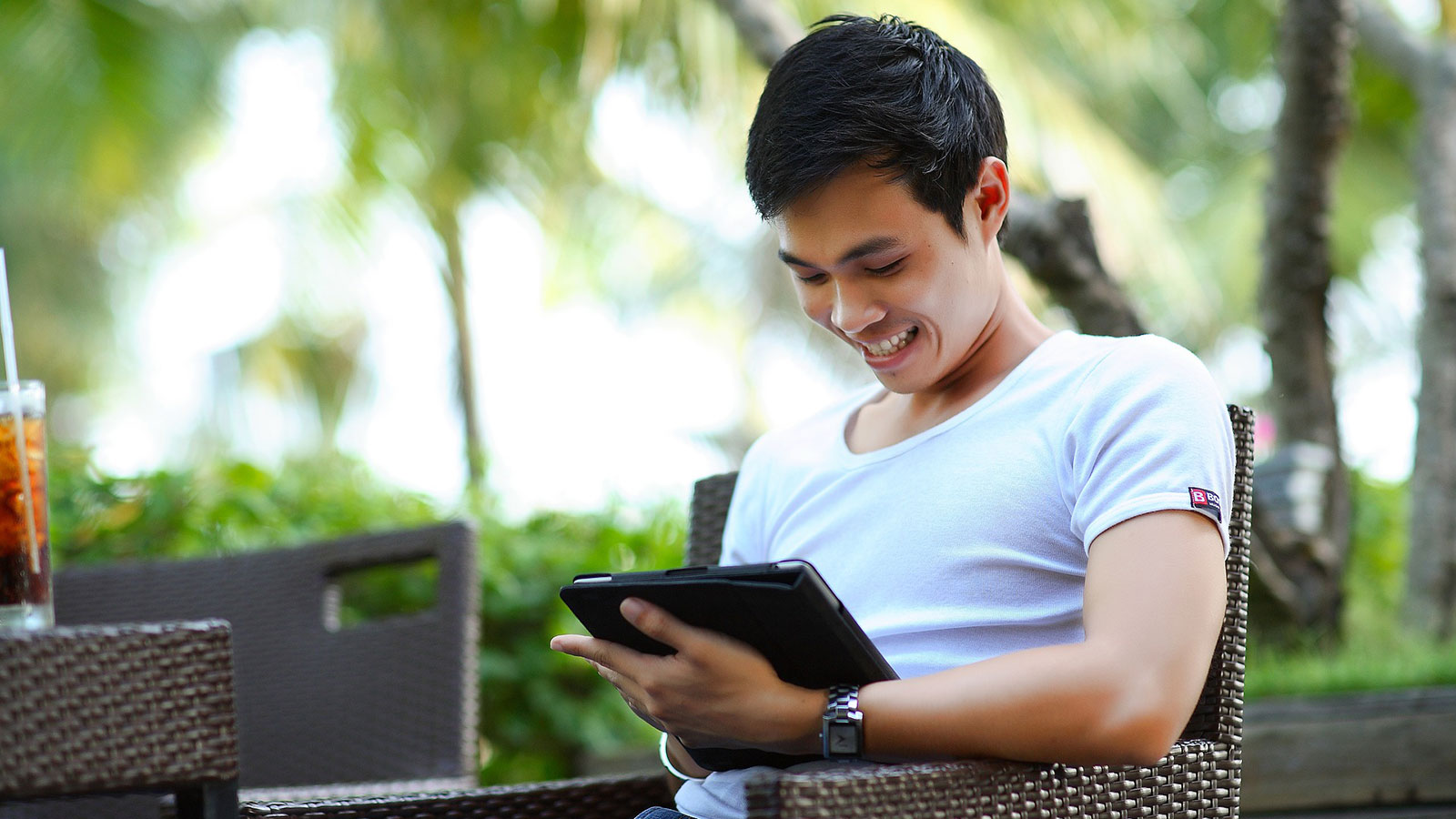 man on mobile device