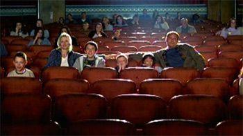 Family at a movie theater