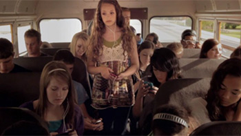 Girl on a bus
