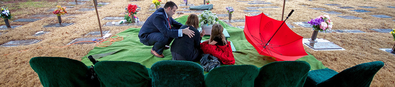 Family at a graveside