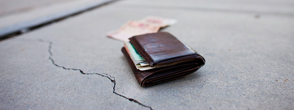 Wallet on the sidewalk