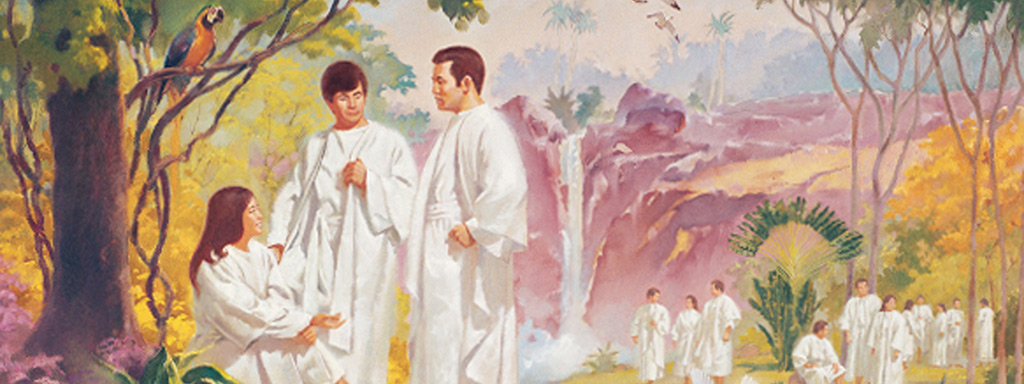 Illustration of People wearing white clothing in a garden