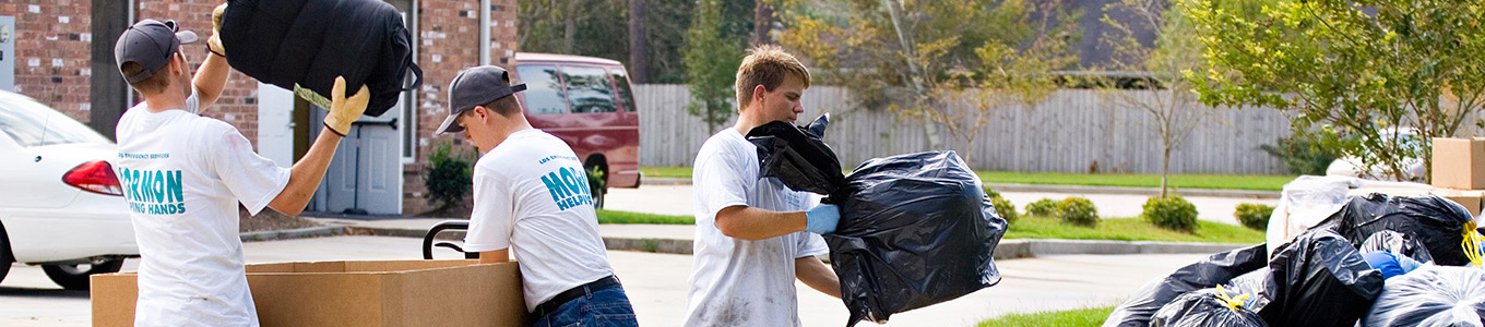 Young men doing service