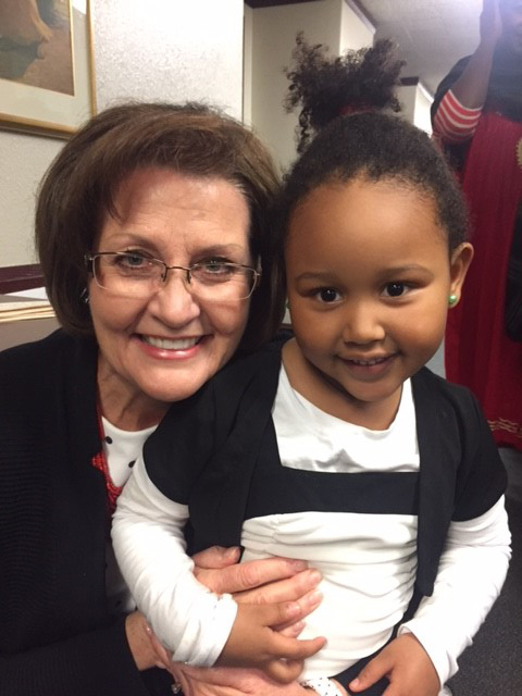 Sister Linda K. Burton poses with Angelique Rustrion, a refugee from Somalia. Photo courtesy Sister Linda K. Burton.