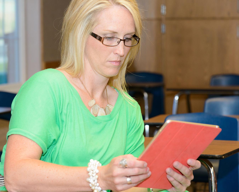 Teacher using a tablet