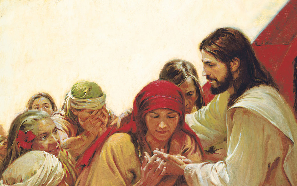 Jesus Christ appears to the Nephites and shows them the wounds in His hands