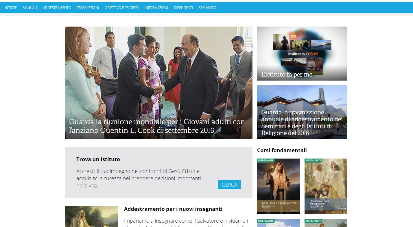 Schermata di institute.lds.org