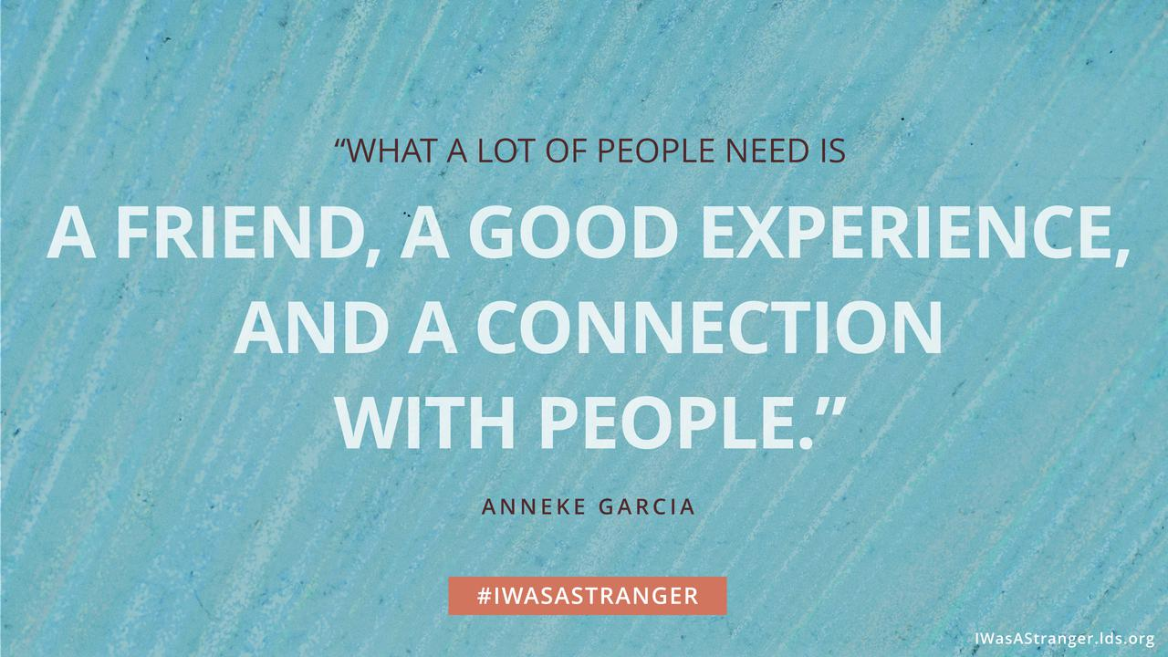 "A quote that reads ""What a lot of people need is a friend, a good experience, and a connection with people."""