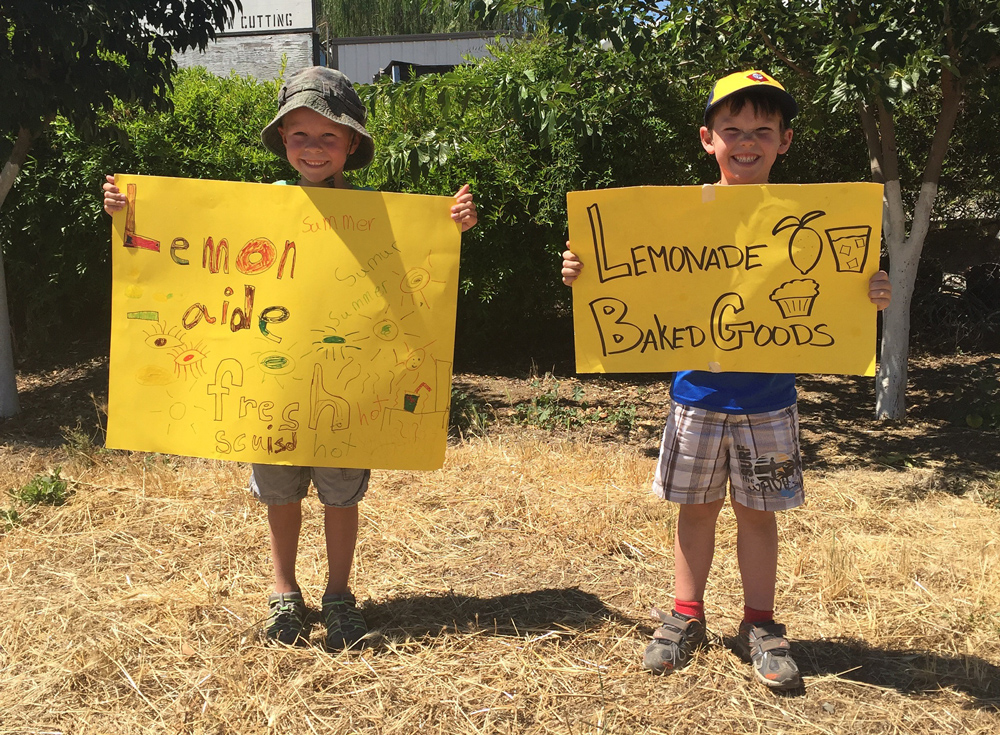 Two boys holding signs for a lemonade stand.