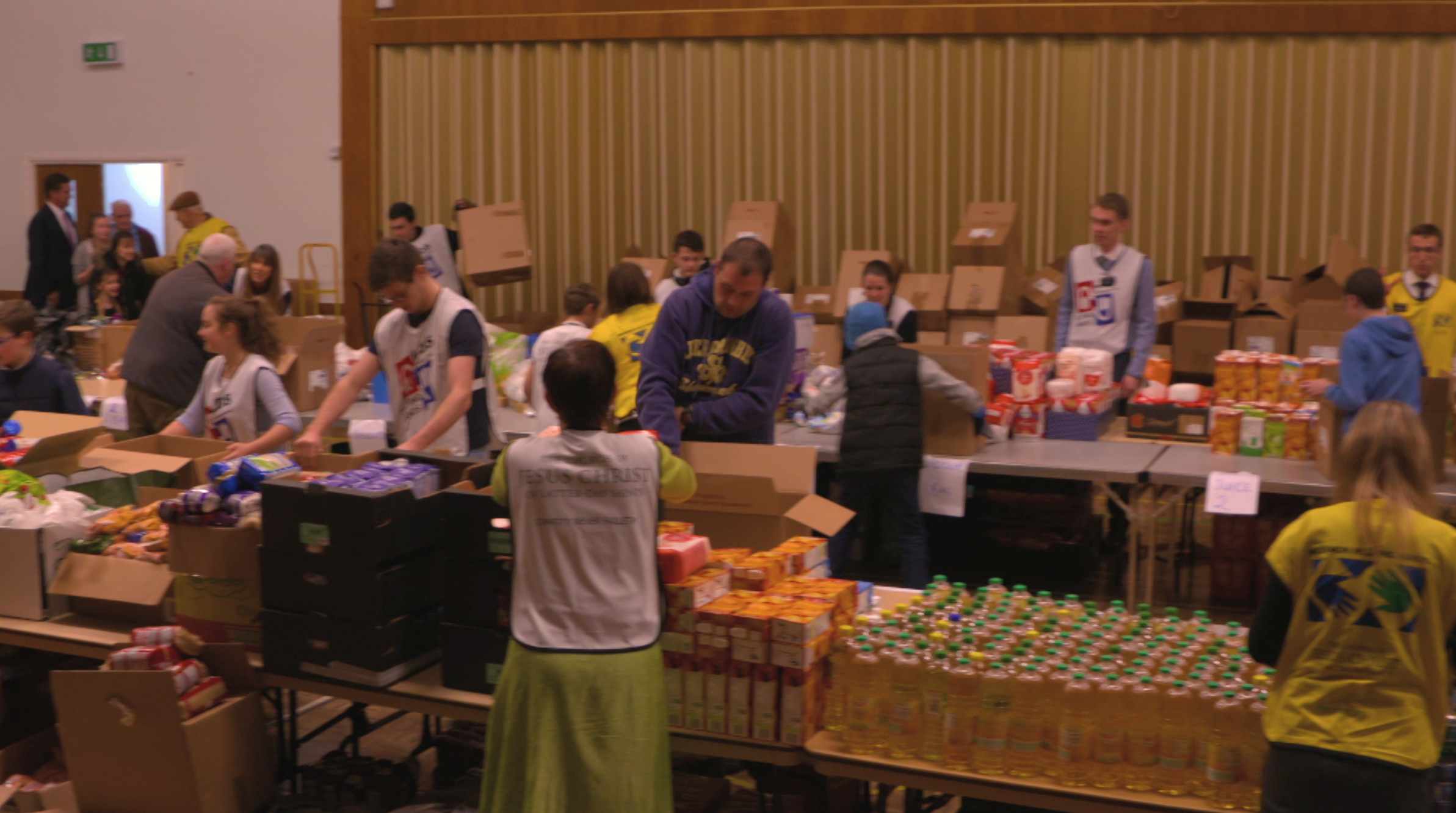 Members sorting food donations.