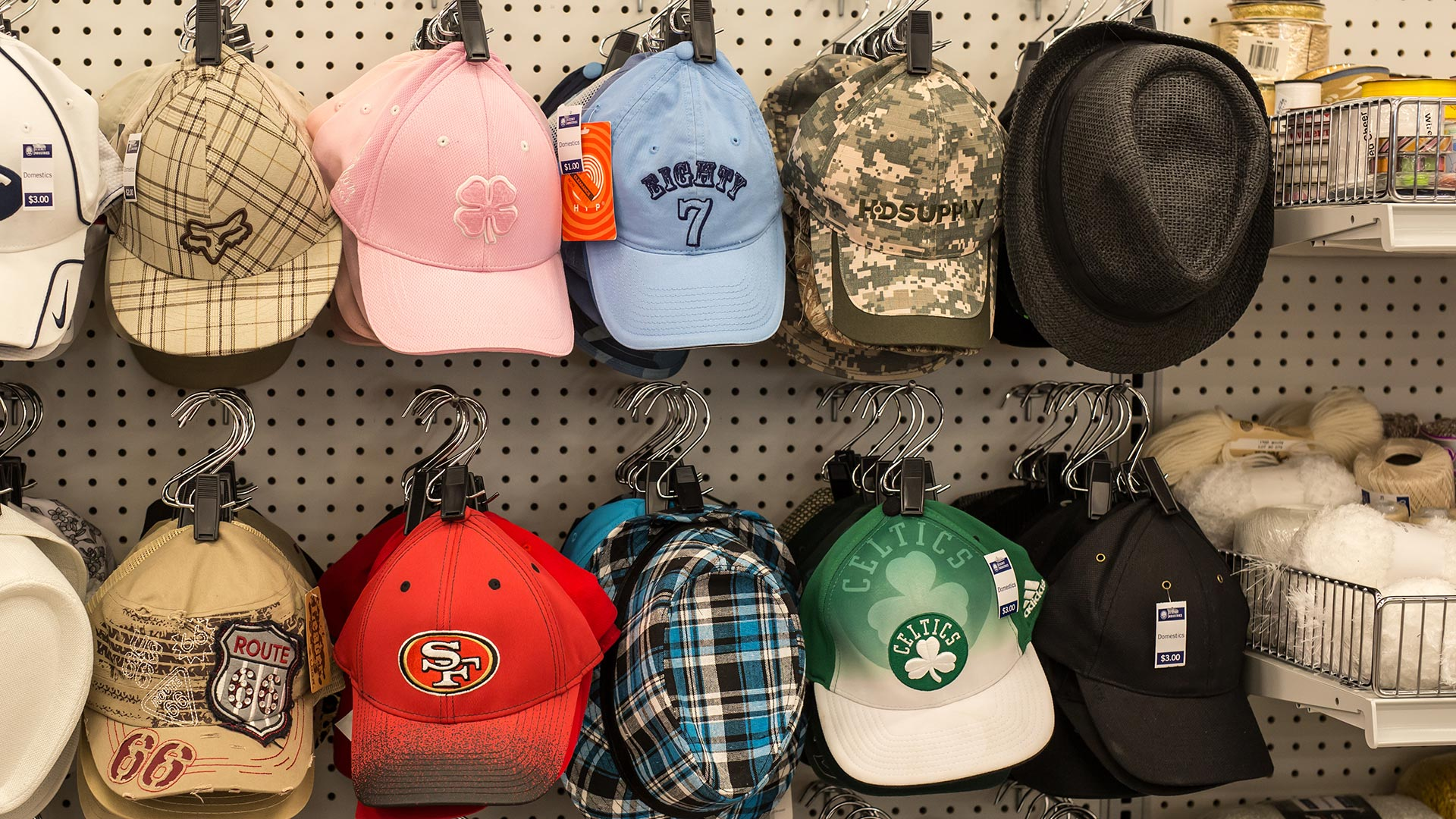 Hats at Deseret Industries