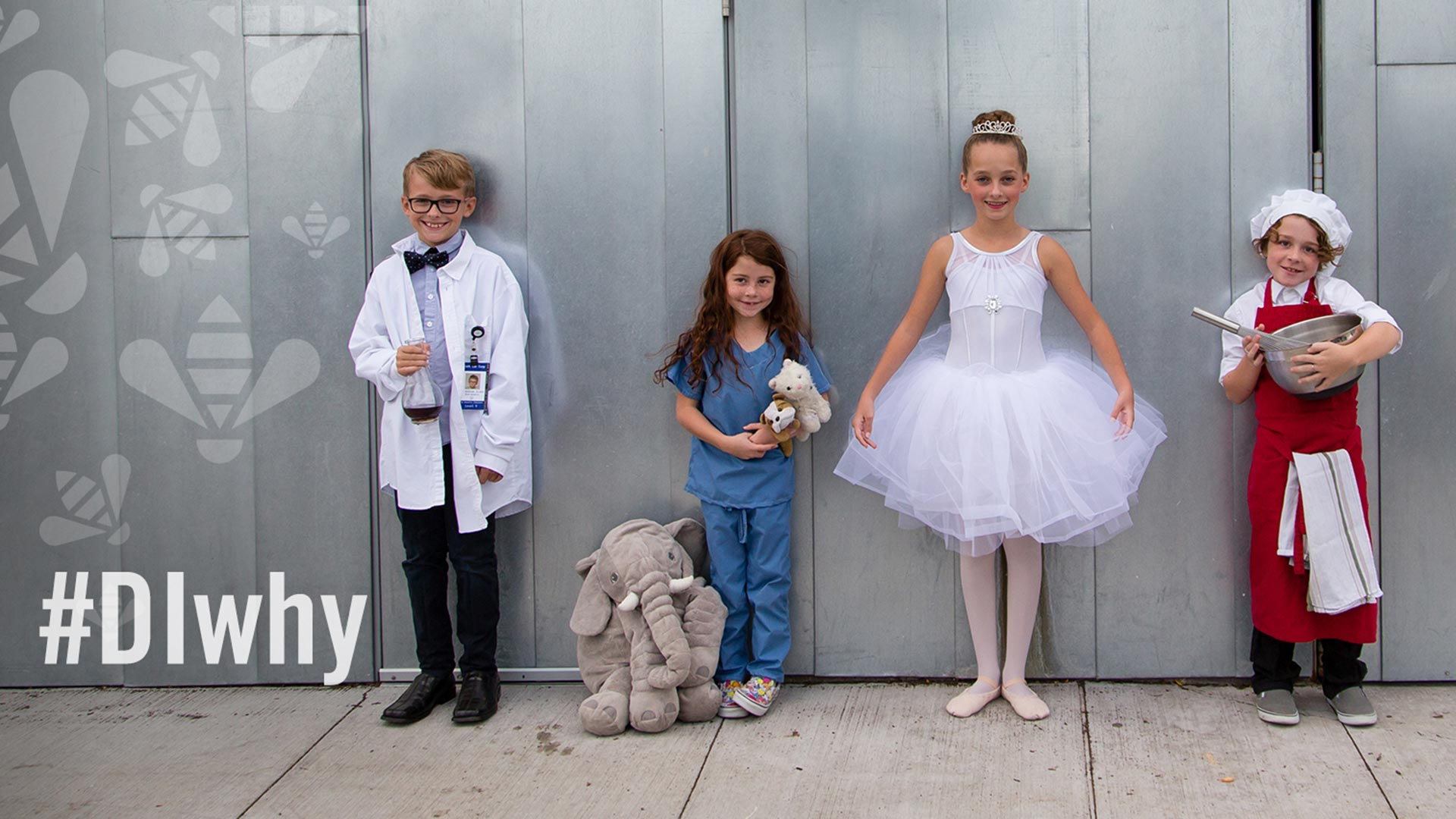 A group of kids dressed for Halloween as a scientist, a veterinarian, a ballerina, and a baker