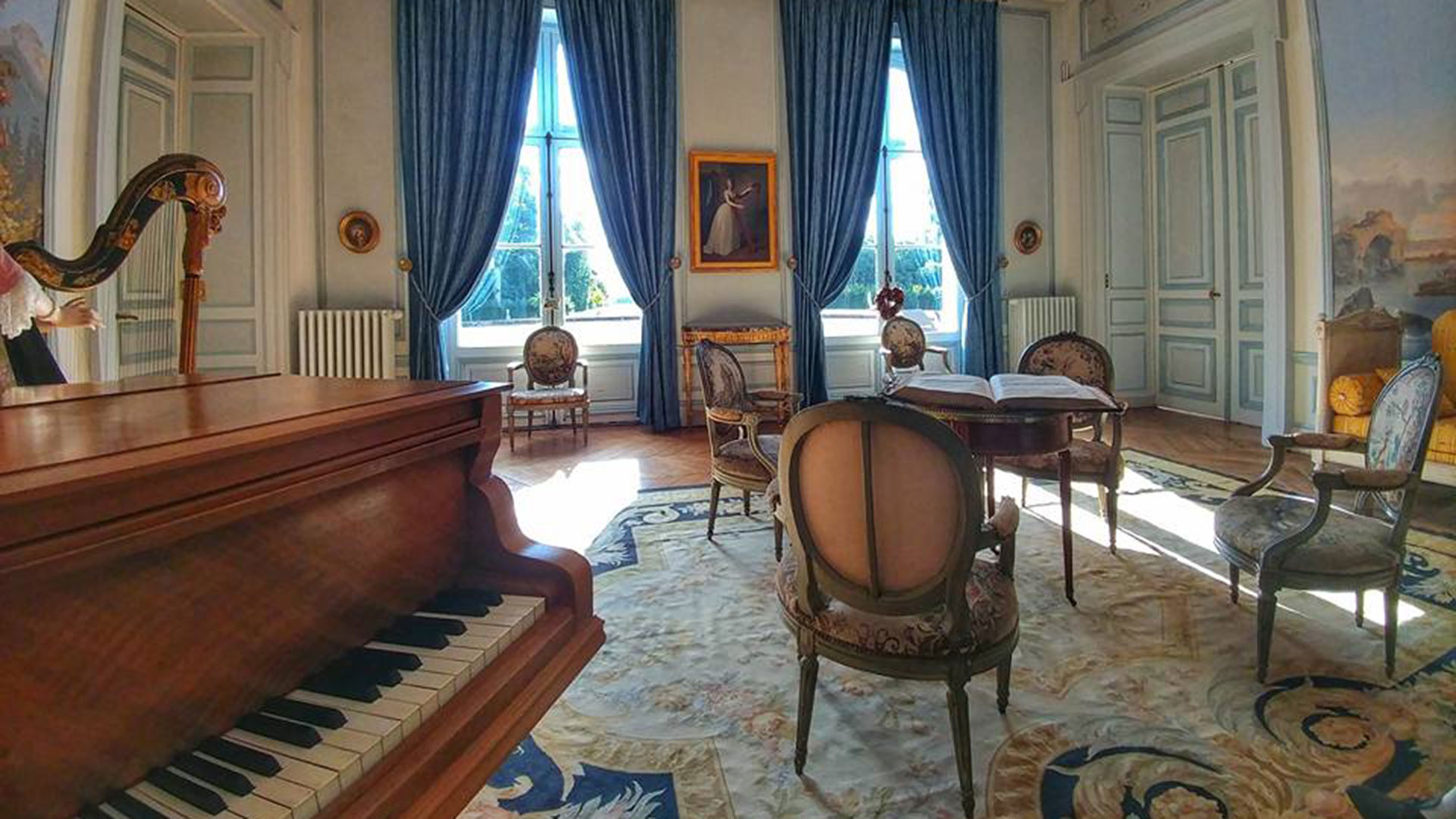 A music room in Chateau des Moyeux in France.